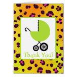 El leopardo y la fiesta de bienvenida al bebé tarjeta de felicitación
