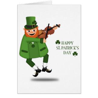 El Leprechaun de St Patrick que toca el violín la  Felicitacion