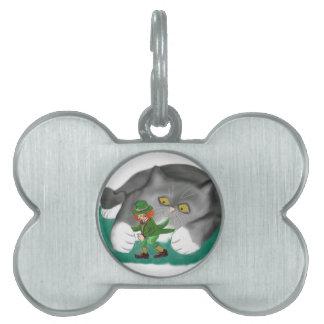 El Leprechaun está entre las patas del gatito Placas Mascota
