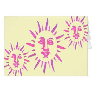 El Let el Sunshine Sun rosado hace frente a dise Tarjetas
