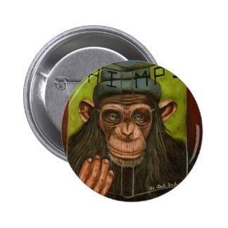 El libro de chimpancés pin redondo de 2 pulgadas
