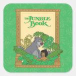 El libro de la selva - Mowgli y Baloo Pegatina Cuadrada