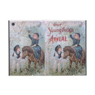 El libro de niños antiguo con el chica en potro iPad mini carcasa