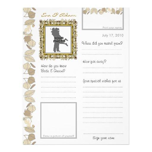 El libro de visitas del boda asistió a la hoja de  tarjeta publicitaria