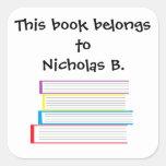"""El """"libro pertenece a…"""" Pegatinas Calcomanía Cuadradase"""