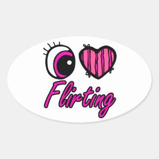 El ligar del amor del corazón I del ojo de Emo Calcomania De Óval