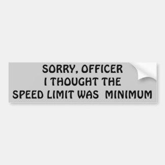 ¿El límite de velocidad es mínimo o máximo? Pegatina De Parachoque