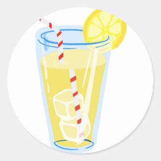 El limón heló té pegatina redonda