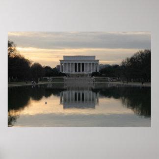 El Lincoln memorial, C.C. de Washington Póster
