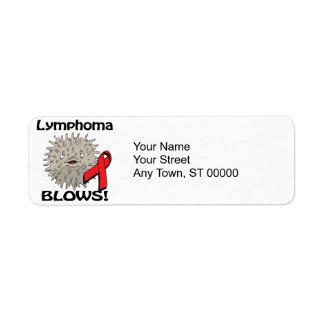 El linfoma sopla diseño rojo de la conciencia etiqueta de remite