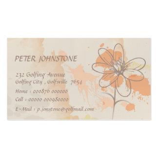 El lino bosquejó la flor en splats de la pintura d tarjetas de negocios
