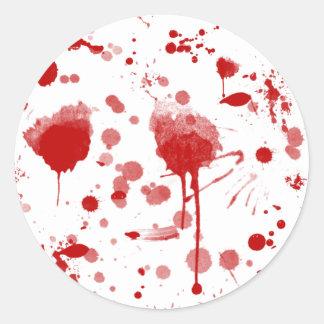 El lío sangriento gotea el color de encargo BG de Pegatinas Redondas