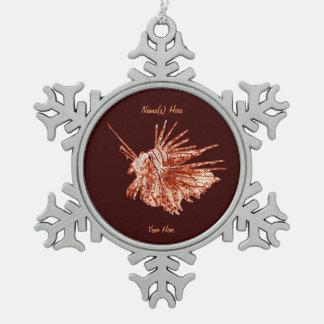 El Lionfish Adorno De Peltre En Forma De Copo De Nieve