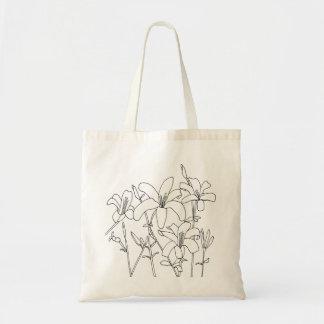 El lirio del dibujo de esquema florece bolsos de bolsa tela barata