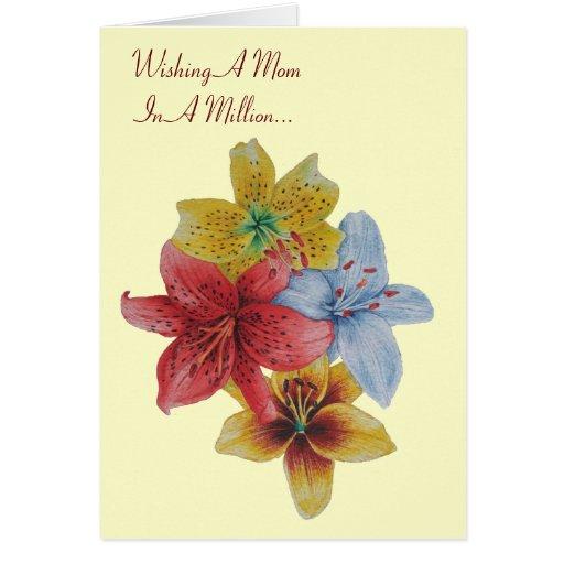 el lirio florece la tarjeta de felicitación floral