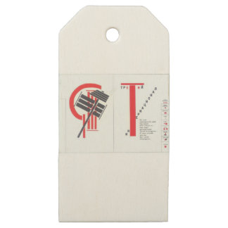 El Lissitzky- Art Illustration to 'For the voice' Wooden Gift Tags