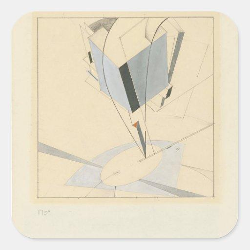 EL Lissitzky- Proun 5 A Pegatina Cuadrada