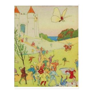 El litrature de los niños del vintage de la postales