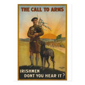 El llamamiento a las armas, guerra mundial irlande tarjeta postal