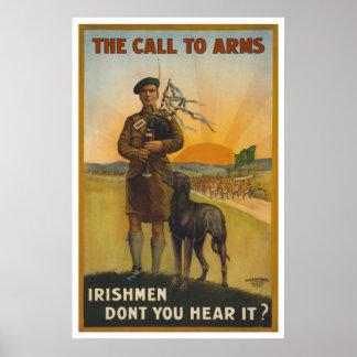 El llamamiento a las armas, guerra mundial póster