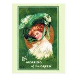 El llevar de la postal verde del vintage