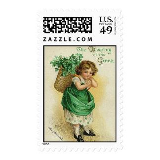 El llevar del franqueo verde sello