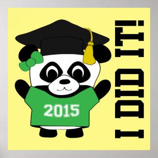 El llevar del graduado de la panda del chica póster