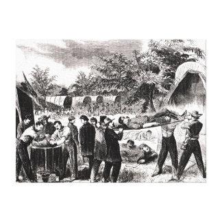 El llevar del herido después del Antietam Impresión En Lienzo Estirada