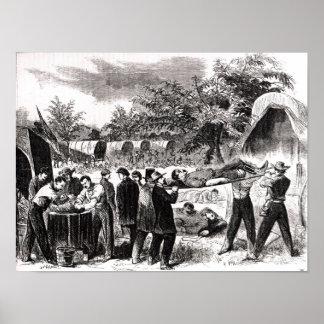 El llevar del herido después del Antietam Póster
