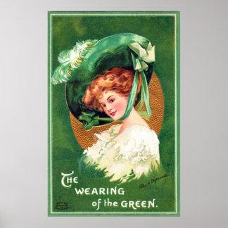 El llevar del poster verde del vintage