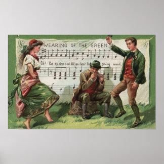 El llevar del Sheetmusic verde Póster