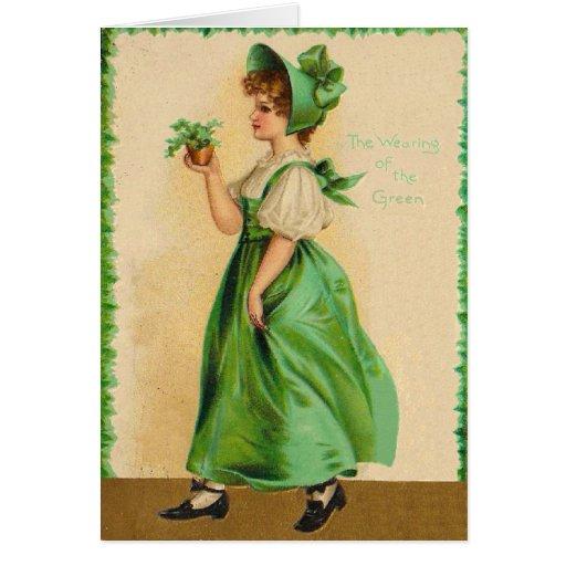El llevar del vintage de la tarjeta del día del St