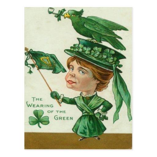 El llevar del vintage de la tarjeta del día del St Tarjetas Postales