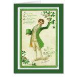 El llevar feliz feliz del verde tarjetas