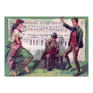 """El llevar gitano irlandés de la plantilla verde invitación 5"""" x 7"""""""
