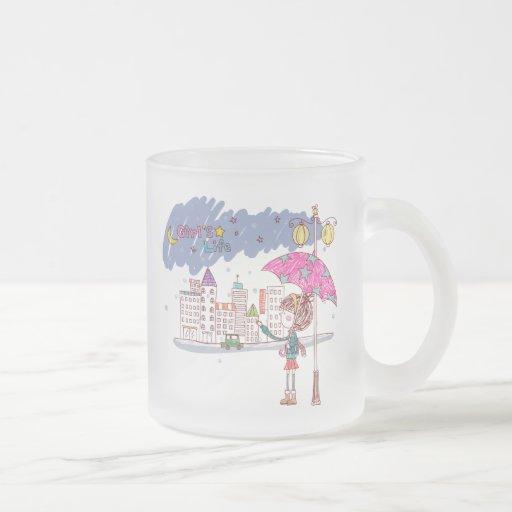 El llover taza cristal mate