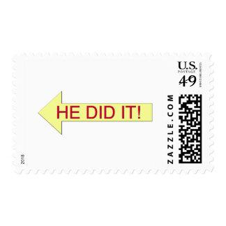 Él lo hizo (la flecha izquierda) sello postal