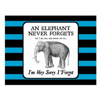 El lo siento mucho I olvidó Tarjetas Postales