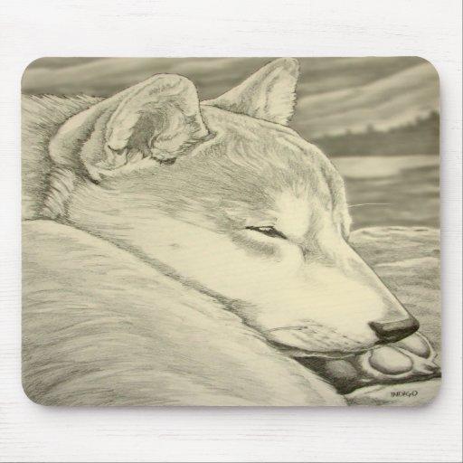 El lobo antiguo de los regalos de Shiba Inu Mousep Tapete De Ratones
