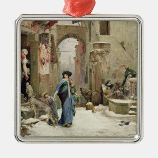El lobo de Gubbio, 1877 Adorno Cuadrado Plateado