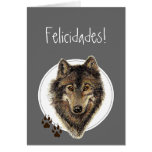 ¡El lobo de la acuarela sigue Felicidades! Cumplea Felicitacion