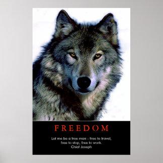 El lobo de motivación del espíritu libre observa impresiones
