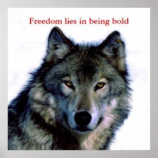 El lobo de motivación del valor observa el poster póster