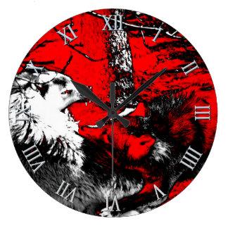El lobo del gruñido guerrea diseñador reloj redondo grande