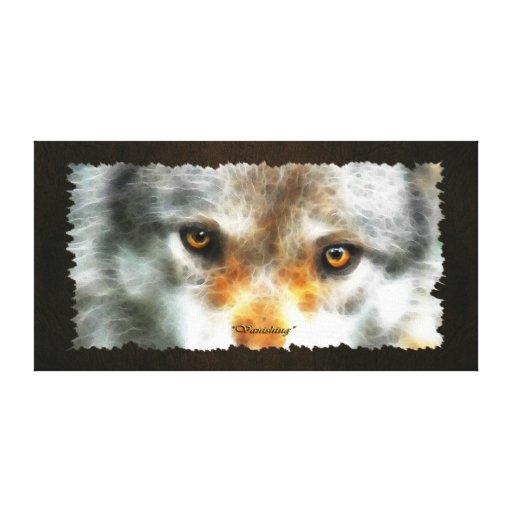 """El lobo gris de """"DESAPARICIÓN"""" observa la impresió Lienzo Envuelto Para Galerías"""