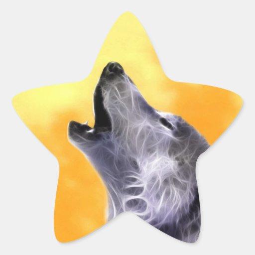 El lobo grita en la Luna Llena Colcomanias Forma De Estrella Personalizadas