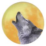 El lobo grita en la Luna Llena Plato De Comida