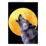 El lobo grita en la Luna Llena Tarjeta De Felicitación