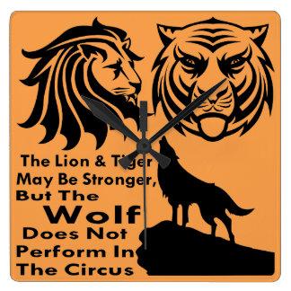 El lobo no se realiza en el circo reloj cuadrado