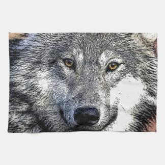 El lobo observa las ilustraciones toalla de cocina